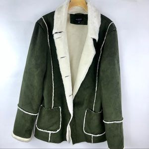 Sonoma Olive Green Suede Faux Fur Jacket